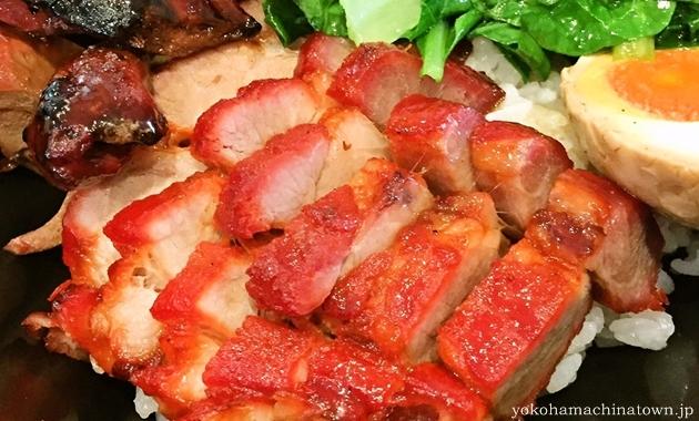金陵の二種盛り丼小 叉焼と焼きレバー